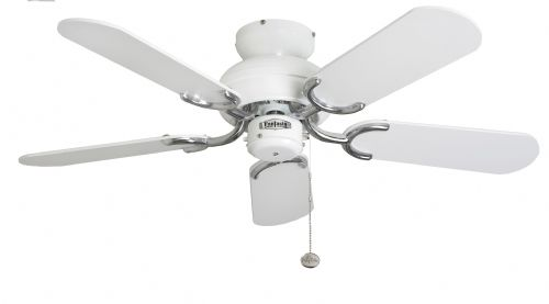 "Fantasia Capri 36"" White and Stainless Steel Ceiling Fan 110521"